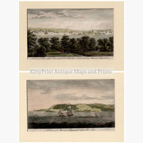 Set Of 2: Views Plymouth Fort And Mount Edgcumbe 1776 Set 2 Prints