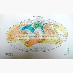 The World showing Postal Delivery from London 1907 Maps KittyPrint 1900s Road Rail & Engineering World Maps
