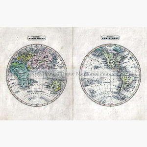 Western and Eastern Hemisphere c.1880 Maps KittyPrint 1800s World Maps