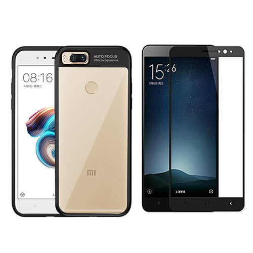 Digiprints Combo Soft Silicon Bumper With Hard Transparent Also With Black Tempered Glass For Xiaomi Mi A1