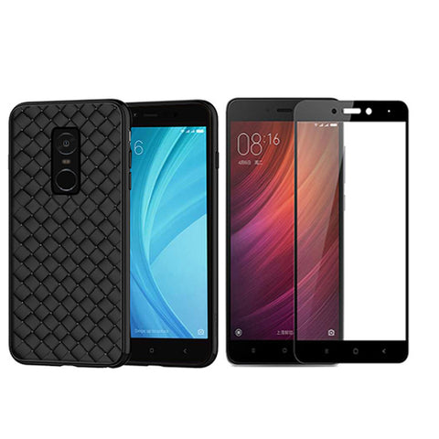 Digiprints Combo TPU Soft Flexible Shock Proof Back Cover Plus Black Tempered Glass For Redmi Note 4