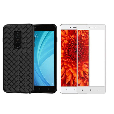 Digiprints Combo TPU Soft Flexible Shock Proof Back Cover Plus White Tempered Glass For Redmi Note 4