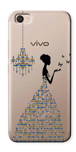 Digiprints Beautiful Lady In Butterfly Gown Design Pattern 4 Case For Vivo V5 Plus