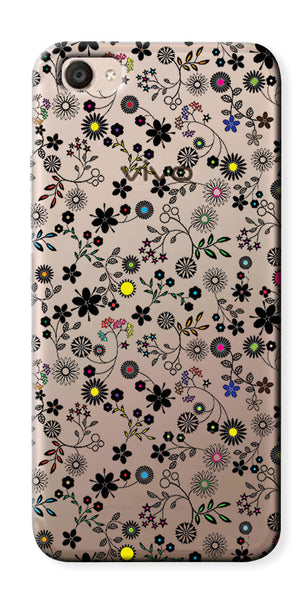 Digiprints Flower Art Printed Clear Case For Vivo V5 Plus