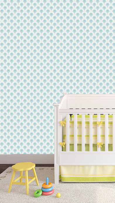 pretty wallpaper for the baby's room, Blue geometric.