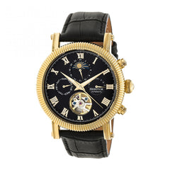 Heritor Automatic Winston Semi-Skeleton Leather-Band Watch - Gold/Black