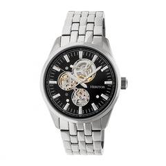 Heritor Automatic Stanley Semi-Skeleton Bracelet Watch - Silver/Black