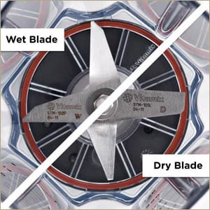 Split-screen shot of Wet Blades on one side and Dry Blades on other