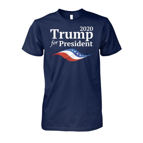 Trump For President in 2020 (Dark Colors) - Navy / S / Unisex Cotton Tee - Short Sleeves