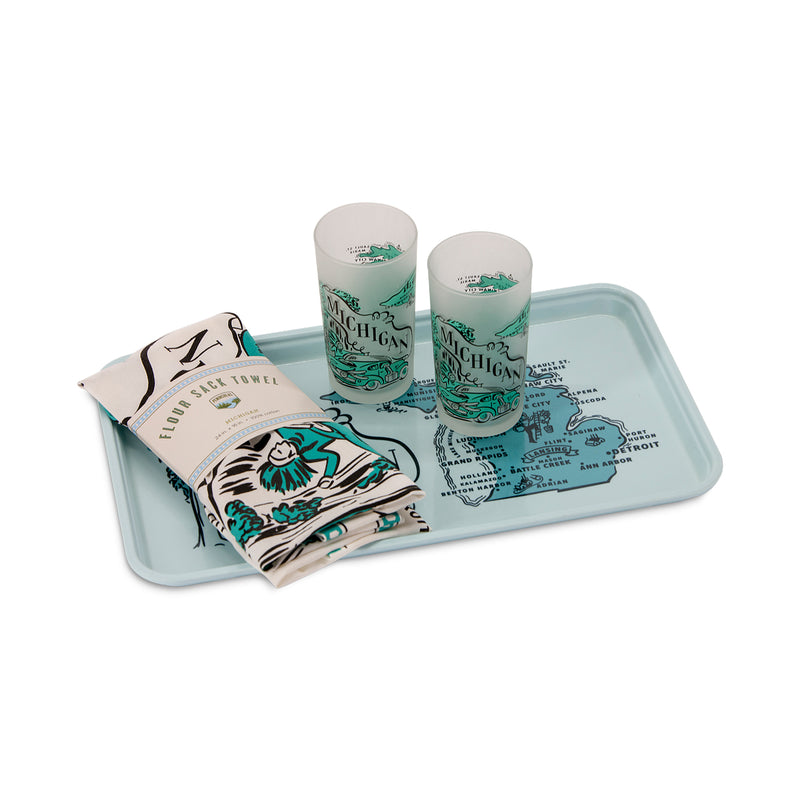 Set comes with 1 tray, 2 glasses & 1 towel with Michigan landmarks printed on them in teal.