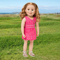 Pink eyelet dress with silver piping, silver headband and silver sandals fits all 18 inch dolls.  Shown on KMF28 Maplelea Friends doll.