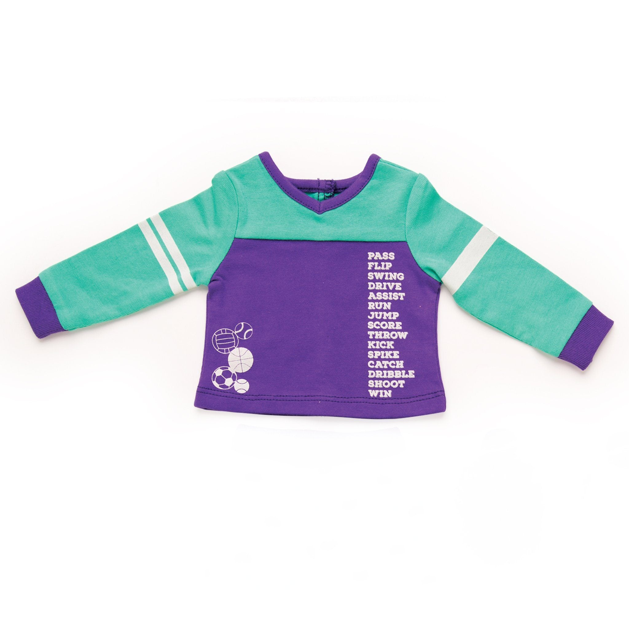 Dream Team sports-themed purple and teal PJ top with printed athletic words and sport-ball print. Fits all 18 inch dolls.