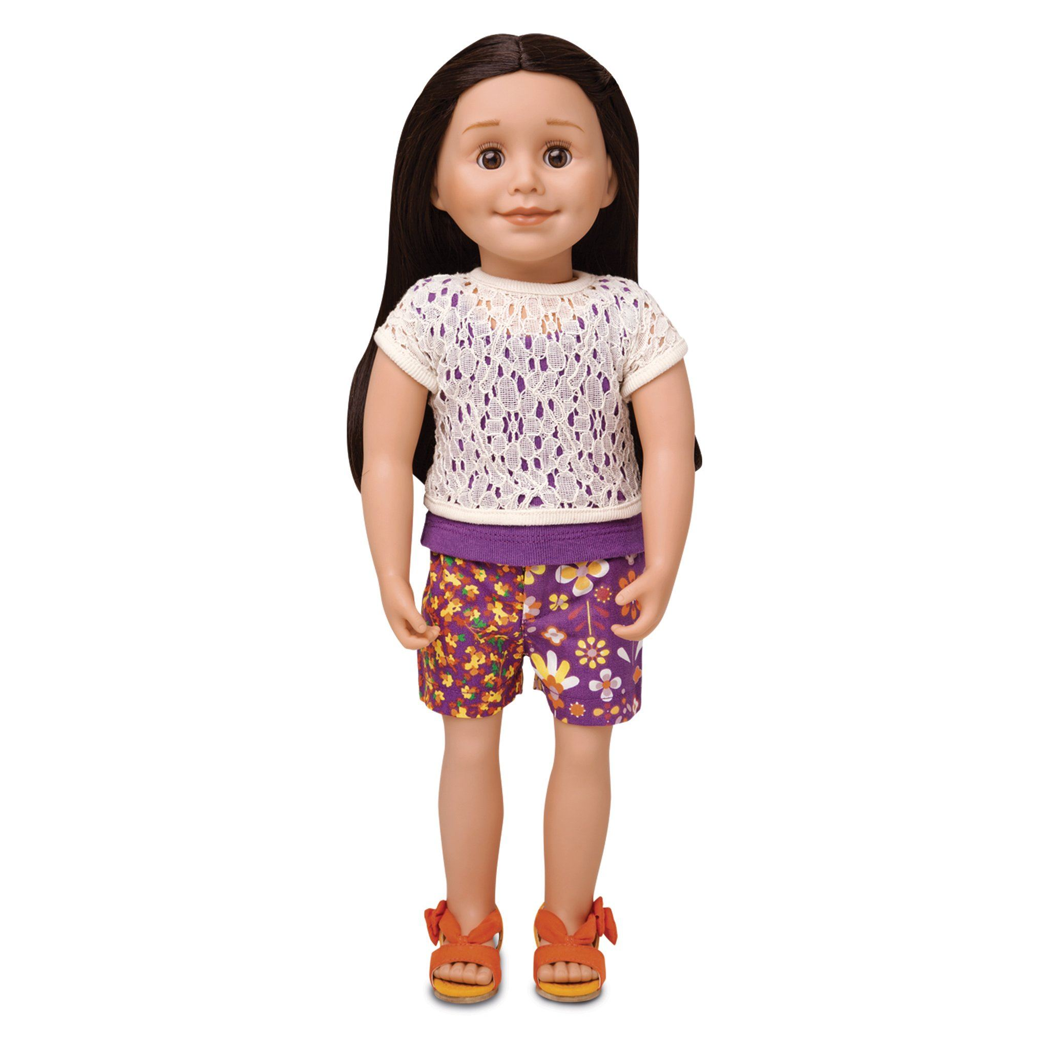 Purple multi-colour floral shorts, two layer tank top and orange bow sandals shown on 18 inch doll.