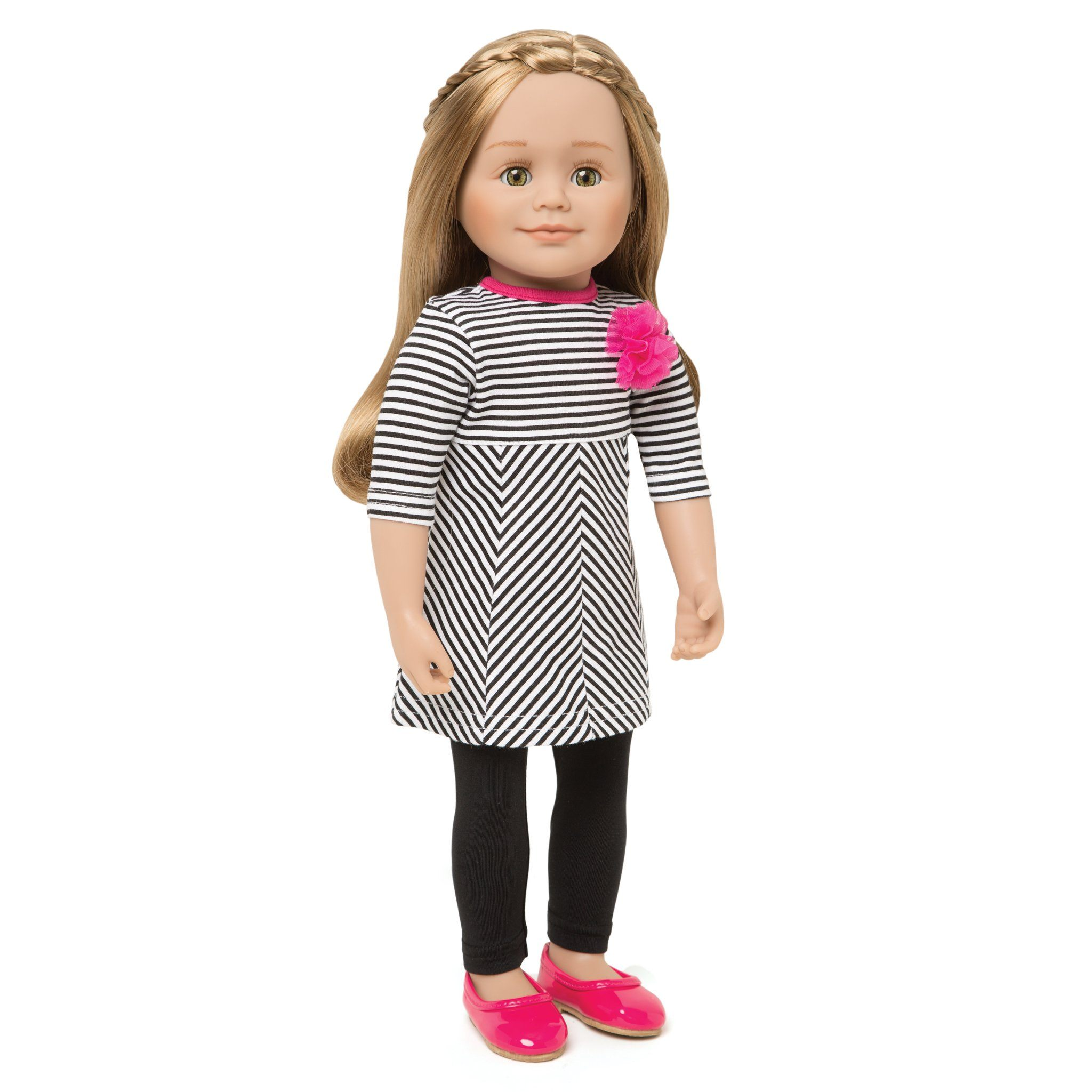 Ile de passage black and white striped dress with fuchsia pink flower detail, black tights, and bright pink shiny flats. Fits all 18 inch dolls.