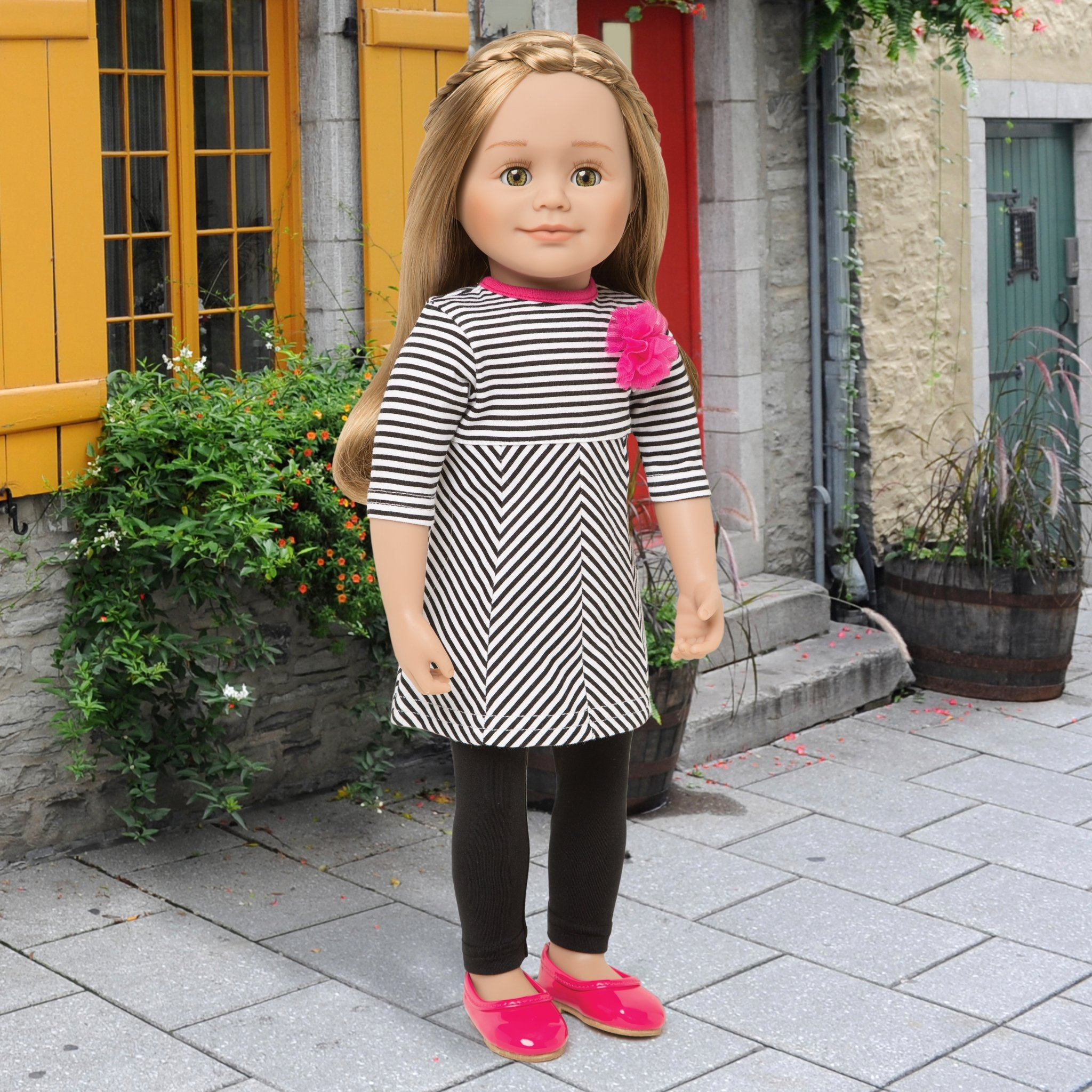 Ile de passage black and white striped dress with fuchsia pink flower detail, black tights, and bright pink shiny flats. Fits all 18 inch dolls. Shown on KL1 Leonie doll.