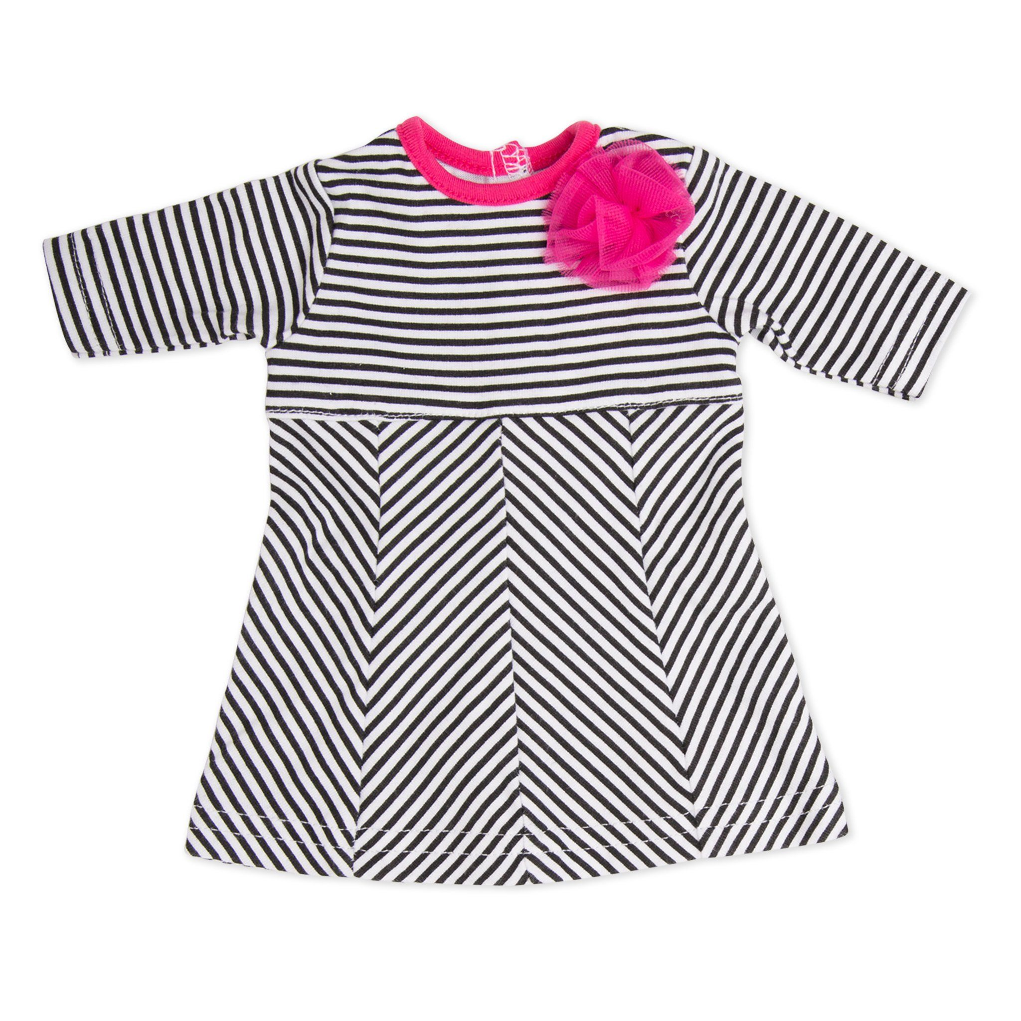 Ile de passage black and white striped dress with fuchsia pink flower detail fits all 18 inch dolls.