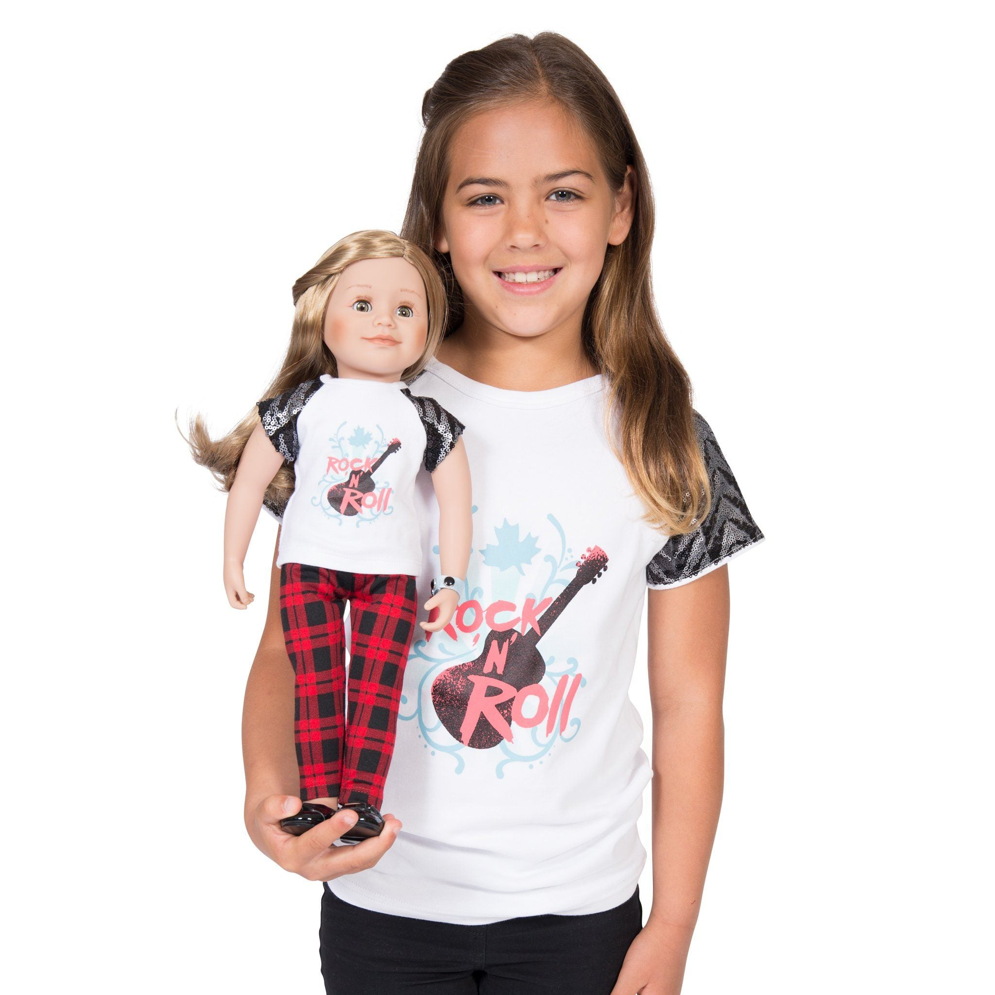 Rockin Couture rock n roll graphic t-shirt for girls with sequin pattern sleeves.