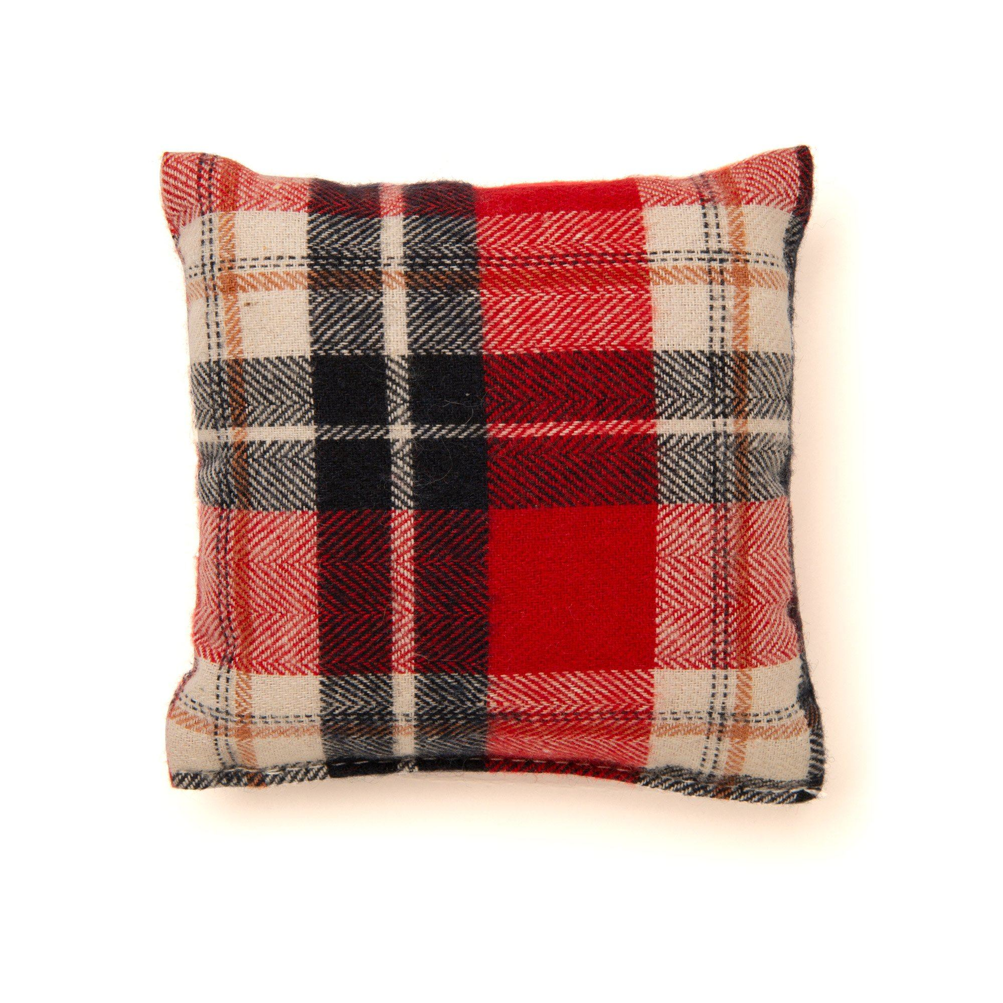 Plaid throw pillow suitable for dolls. Available at Maplelea.com