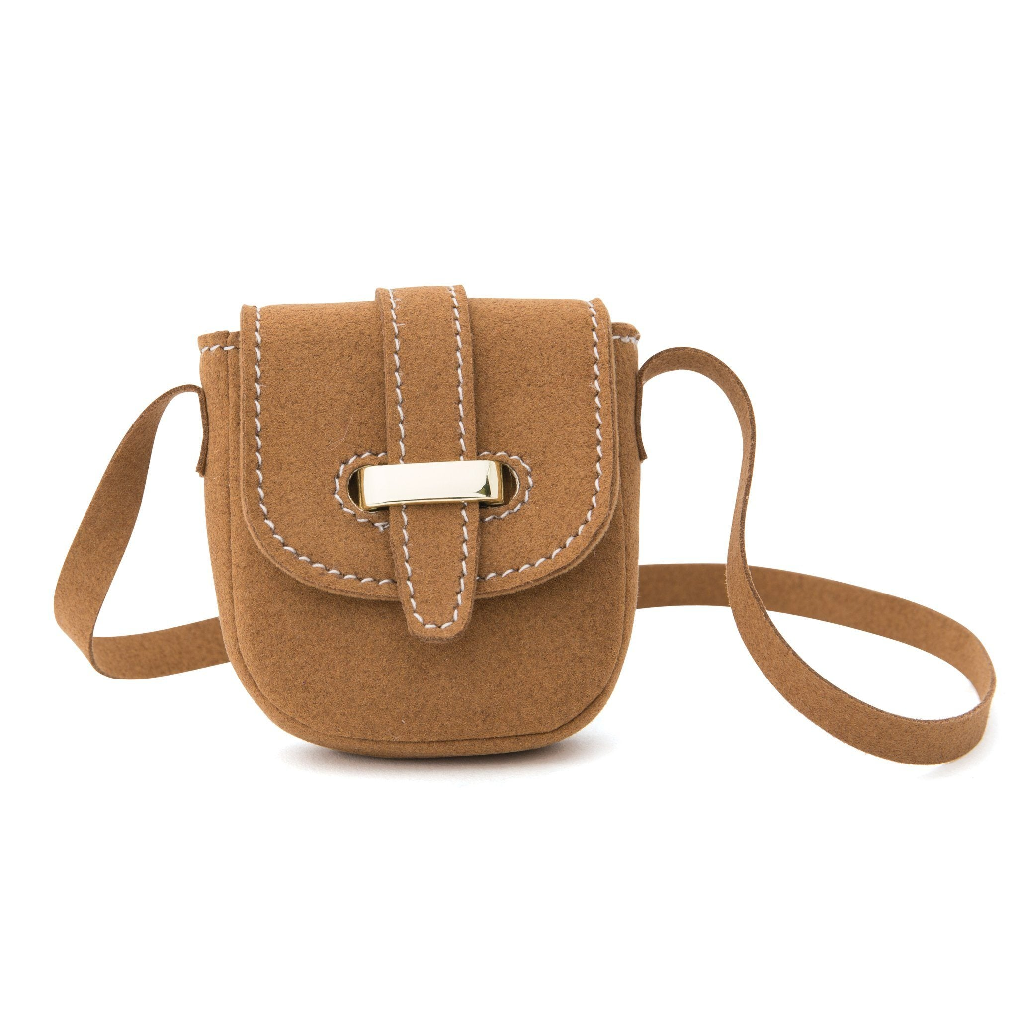 Brown saddlebag cross-body purse fits all 18 inch dolls