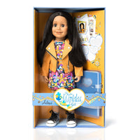 Maplelea 18 inch doll Alexi wearing orange moto jacket, print dress and metallic runners in box with story journal