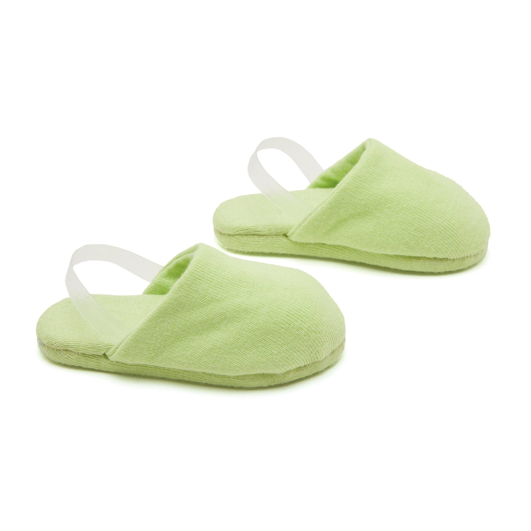Night Owl Nightwear green soft slippers fit all 18 inch dolls.