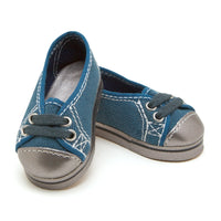Nunavut Now blue shoes with laces and silver toes fits all 18 inch dolls.