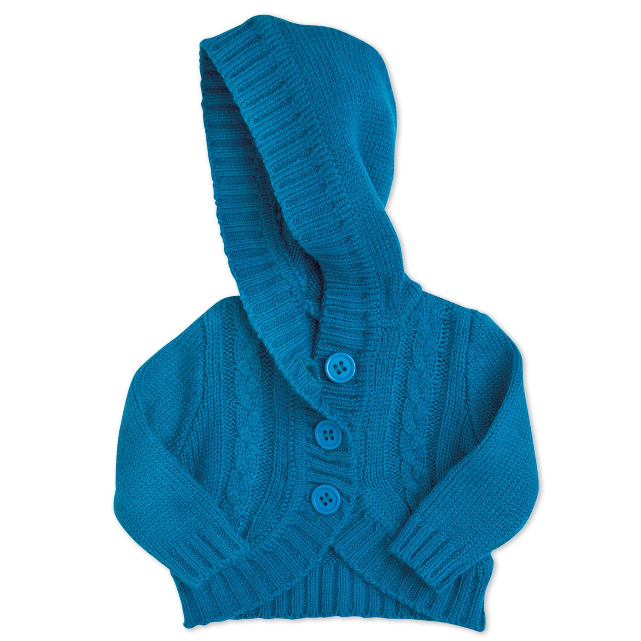 Nunavut Now blue hooded knit sweater with buttons fits all 18 inch dolls.