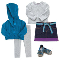 Nunavut Now outfit for 18 inch dolls includes sweater, shirt, skirt, belt, leggings, shoes.