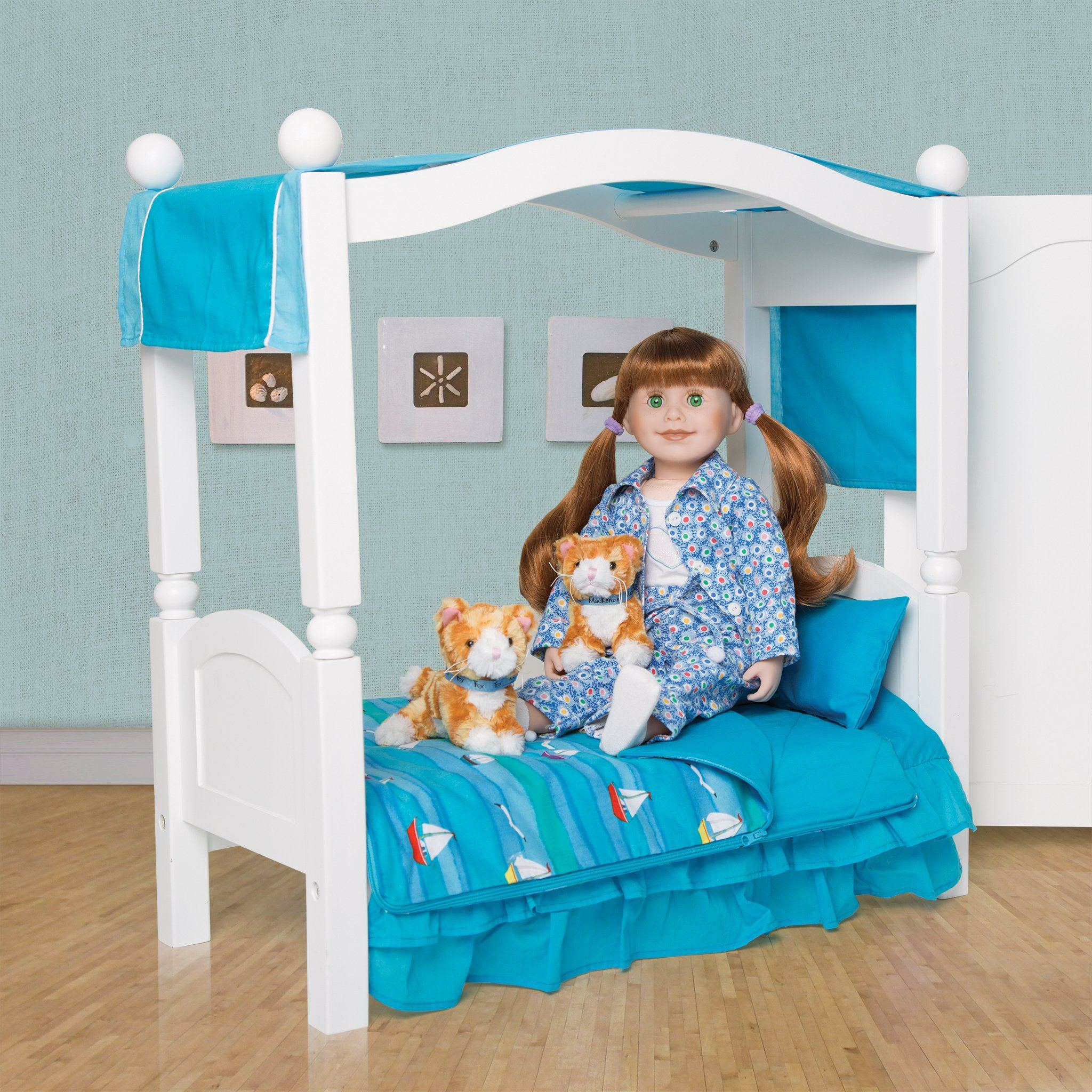 Ocean Waves Canopy Cover 2-tone blue fits KM101 Canopy Frame. Shown on KM1 doll bed with KM101 canopy frame.
