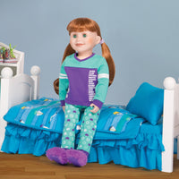 18 inch doll in pajamas with bed and bedding from Maplelea.