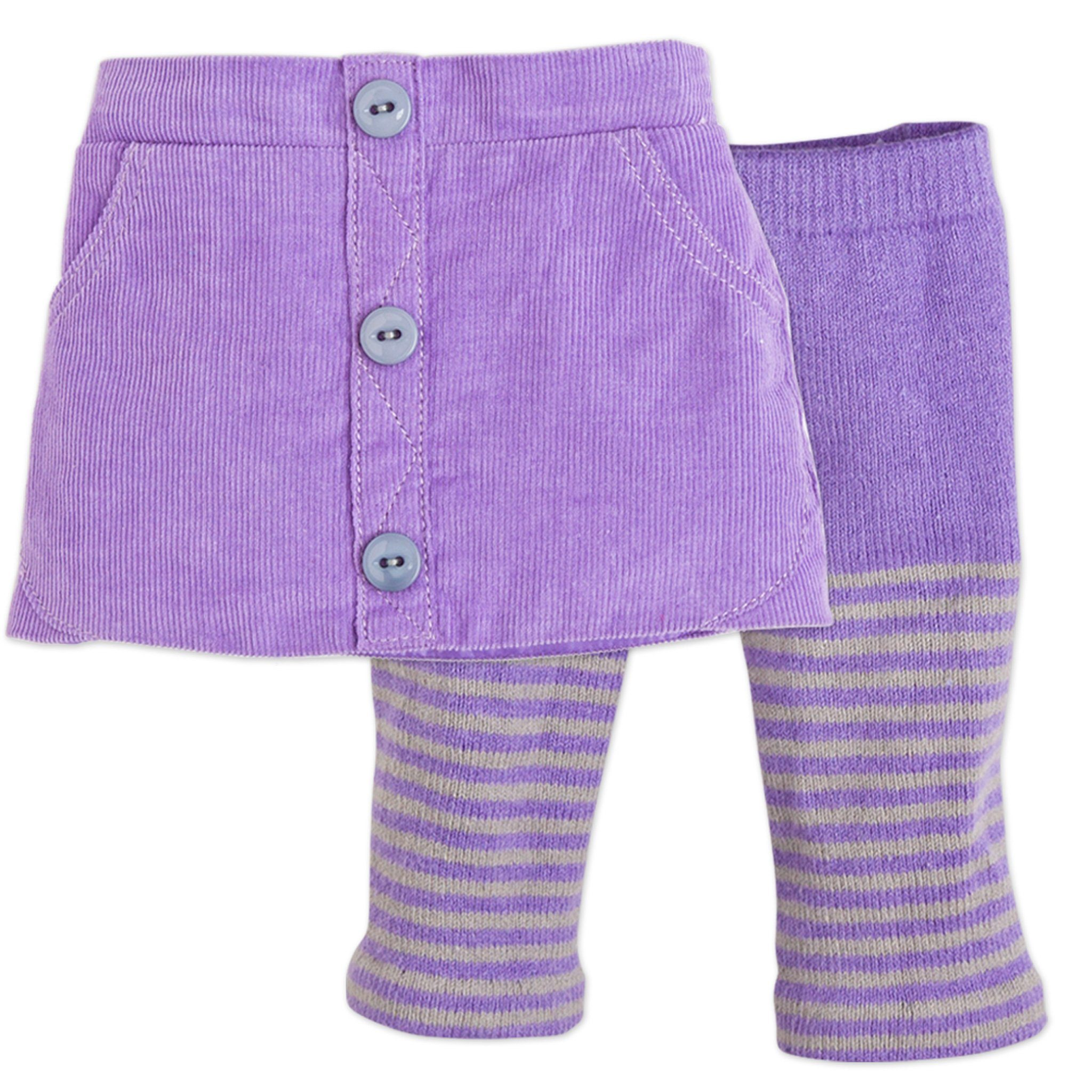 Maplelea Friend 18 inch doll starter outfit purple corduroy skirt, purple striped tights fits all 18 inch dolls.