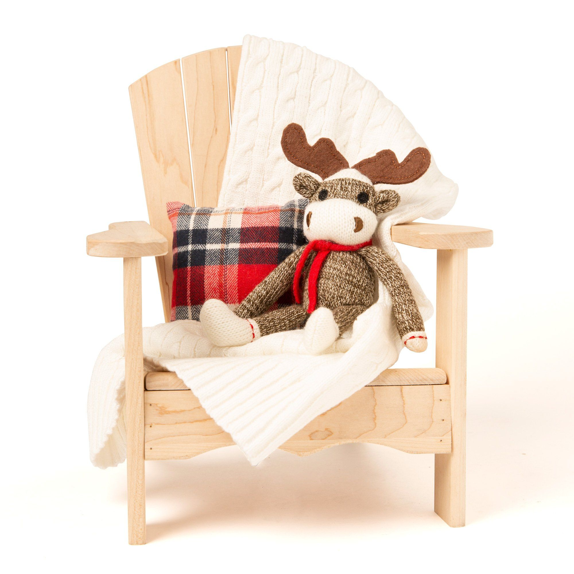 Set includes a soft cable knit blanket, plaid throw pillow and adorable sock monkey moose!