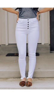KanCan Button Fly Jean in White