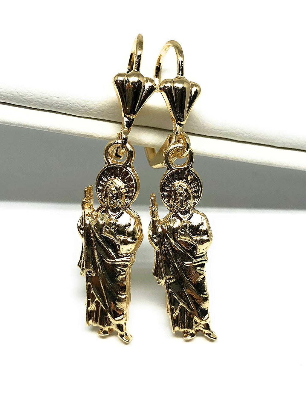 Gold Plated Saint Jude Earrings Aretes De San Judas Tadeo Oro Laminado - Fran & Co. Jewelry
