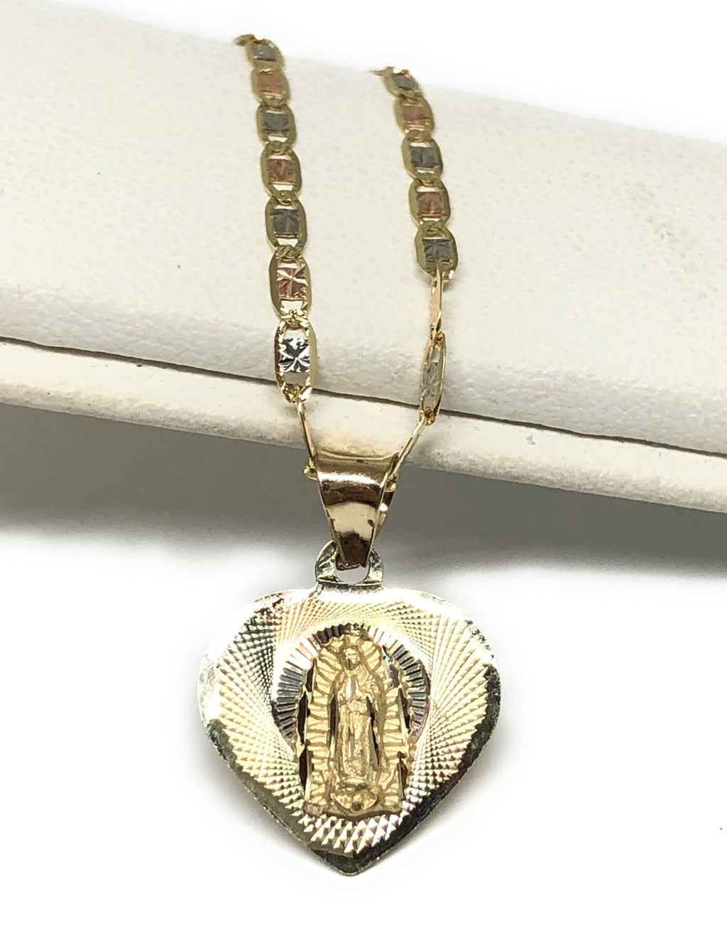14k Solid Gold Tri-Color Virrgin Mary Heart Pendant Virrgen Guadalupe Tri-Color Valentina Chain 1.9mm