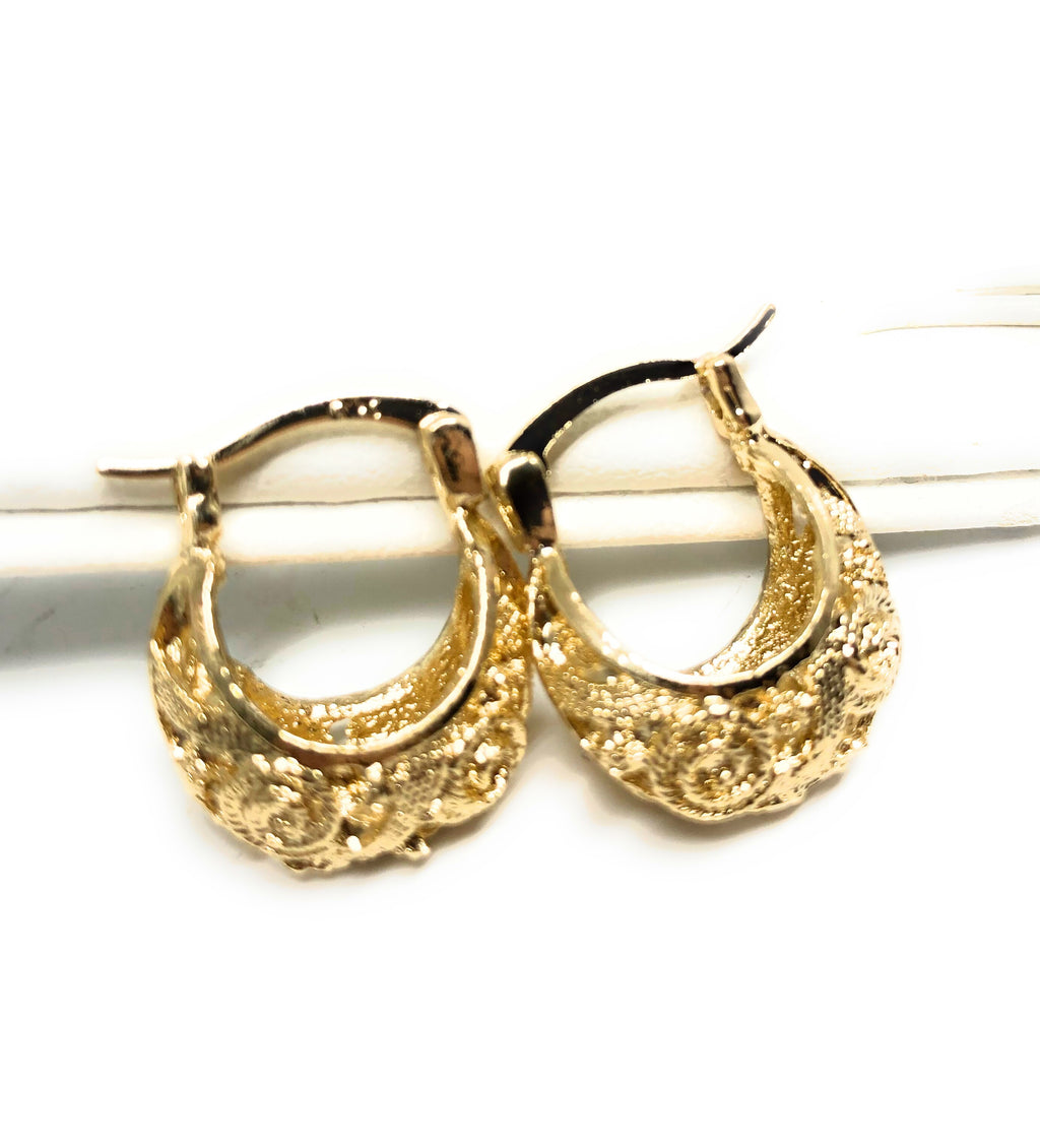 Gold Plated Kids Filigrana Basket Earrings Aretes Canasta Oro laminado Para Ninos