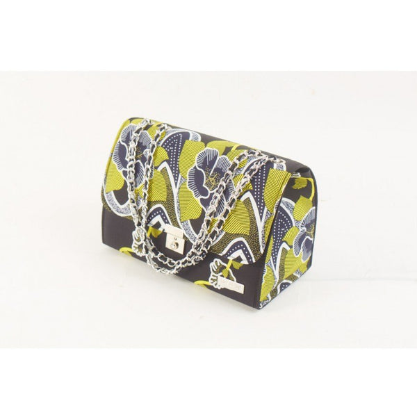 BLACK YELLOW FLORAL TEWA ANKARA AFRICAN PRINT BAG