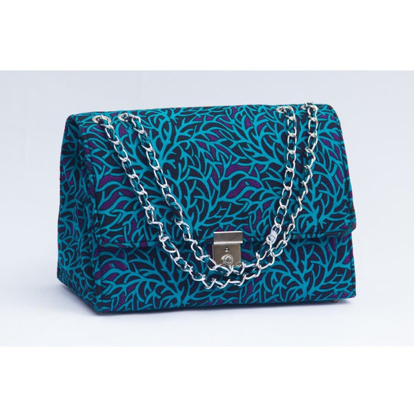 TEAL/PURPLE TEWA ANKARA AFRICAN PRINT BAG