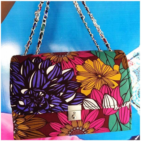 COLORFUL PETAL TEWA ANKARA AFRICAN PRINT BAG