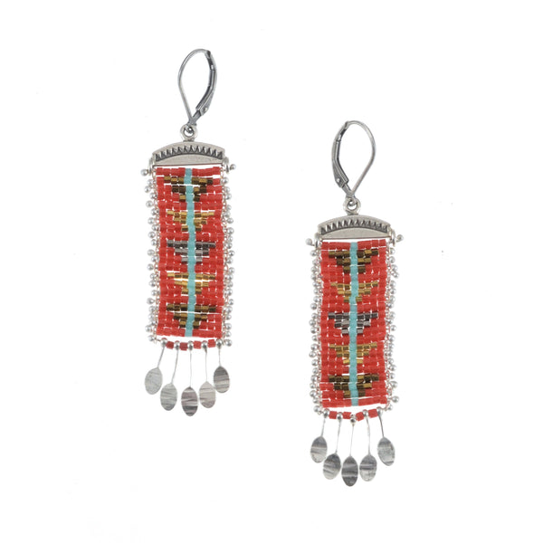 Sacred Peak Blue Line Earrings in Red, long