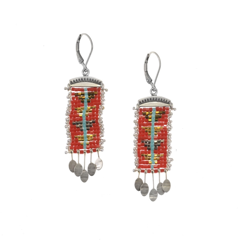Sacred Peak Blue Line Earrings in Red, Medium