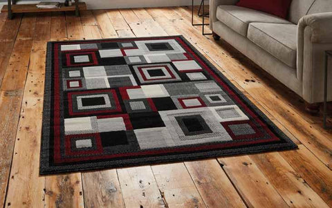 Hudson 3222 Black/Red - Rug - Dream Floors and Furniture Ashton-Under-Lyne, Manchester