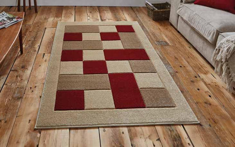 Matrix MT04 Beige/Red - Rug - Dream Floors and Furniture Ashton-Under-Lyne, Manchester