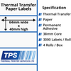 Image of 64 x 40mm Thermal Transfer Paper Labels With Permanent Adhesive on 38mm Cores - TPS1154-21