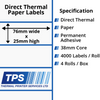Image of 76 x 25mm Direct Thermal Paper Labels With Permanent Adhesive on 38mm Cores - TPS1175-20