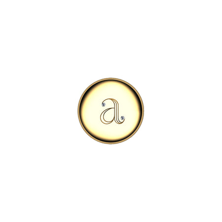 18K Yellow Gold Round Petite Initial Locket with Rock Crystal over Cognac Mother of Pearl