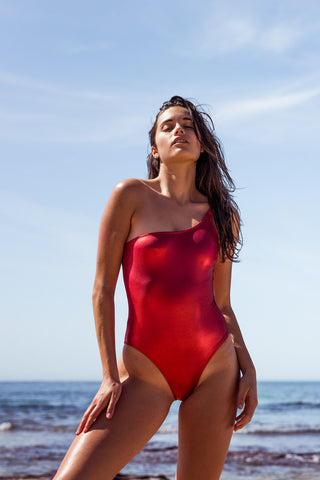 METALLIC FIRE ORANGE ONE STRAP ONE PIECE