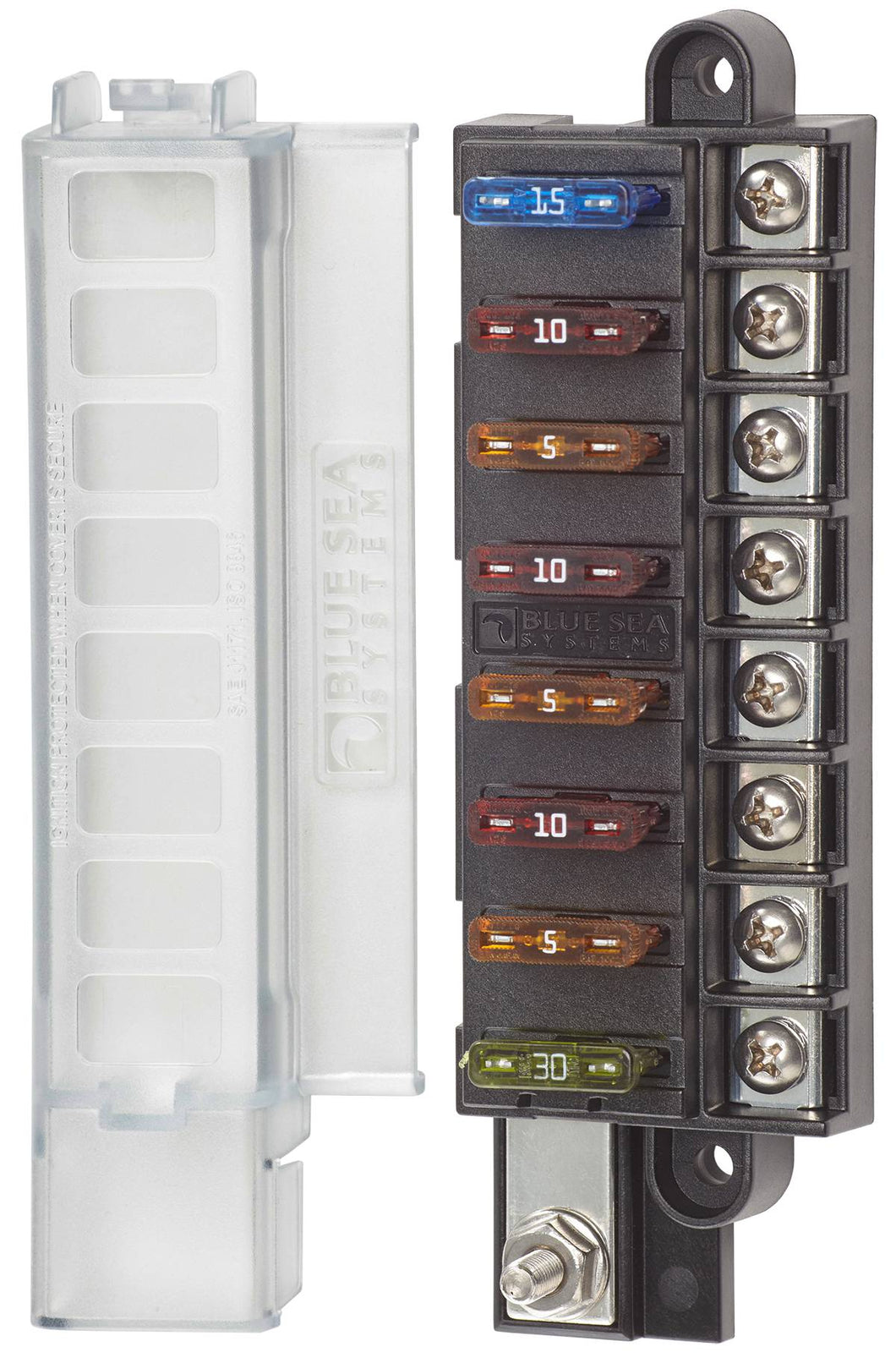 Blue Sea 8 Circuit ST Blade Compact Fuse Box with Cover