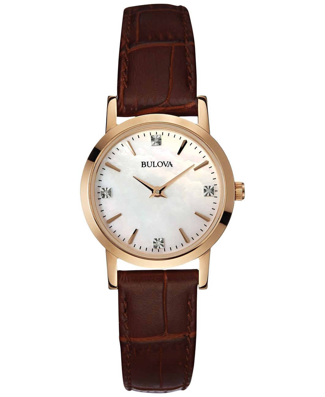 Women's Diamond Accent Brown Leather Strap Watch 27mm