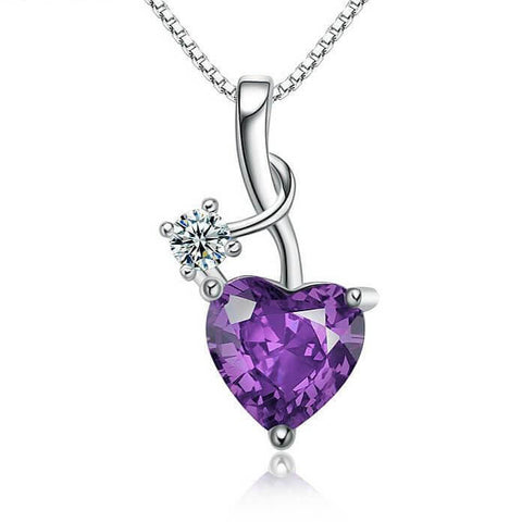 Purple Crystal Heart Necklace